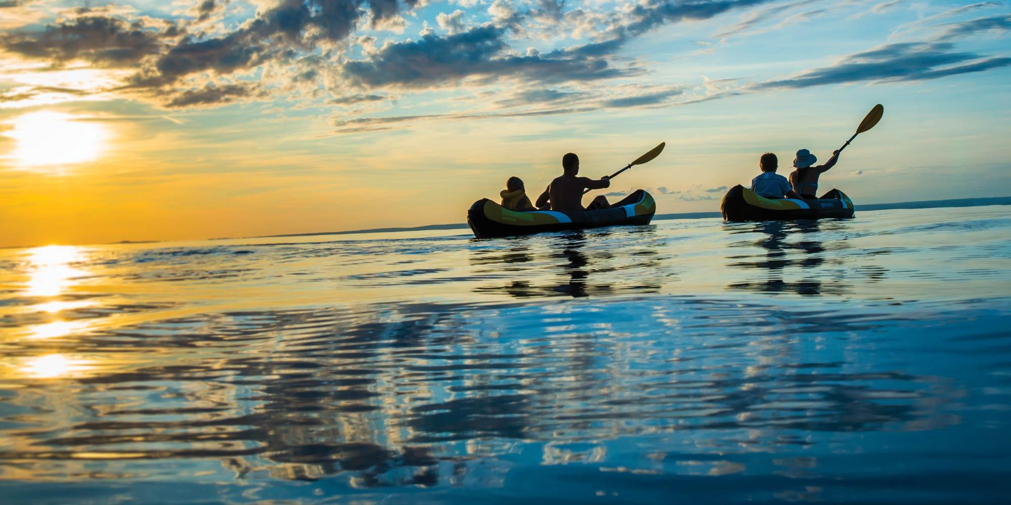 Family Kayaking on Westward Ho Beach