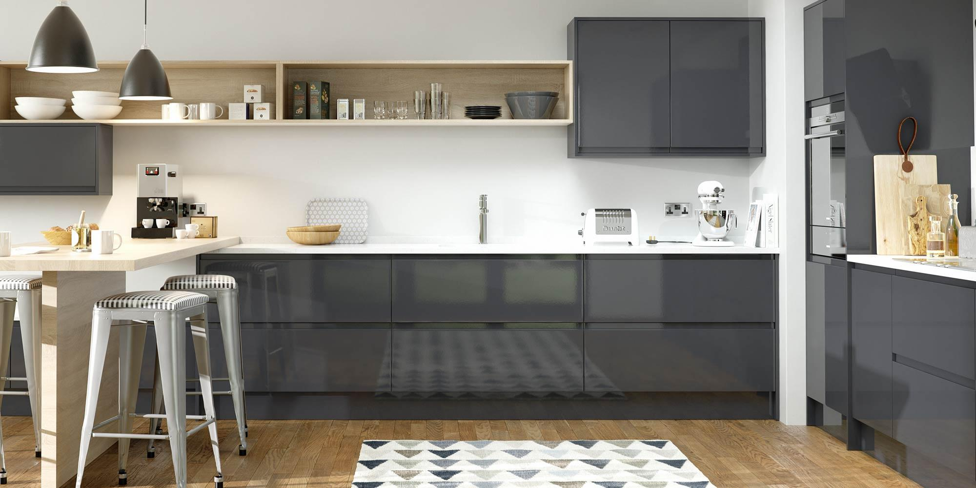 Modern Anthracite Gloss Kitchen Chichester developments