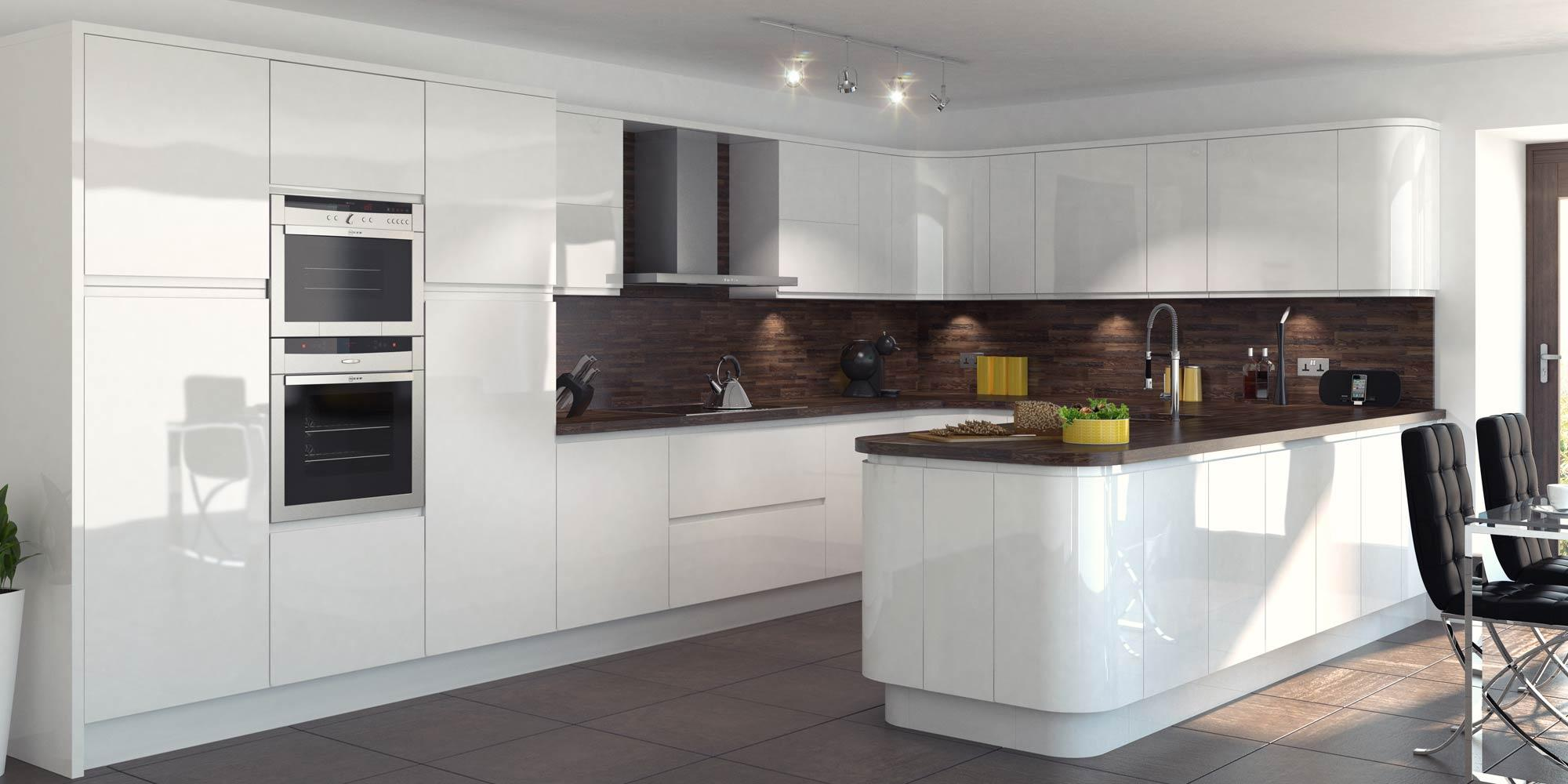 Contemporary White Gloss kitchen design